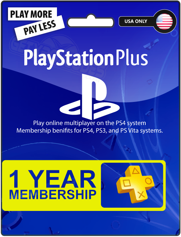 1 Year / 12 Month Sony PlayStation Plus Membership Subscription for PS3 / PS4