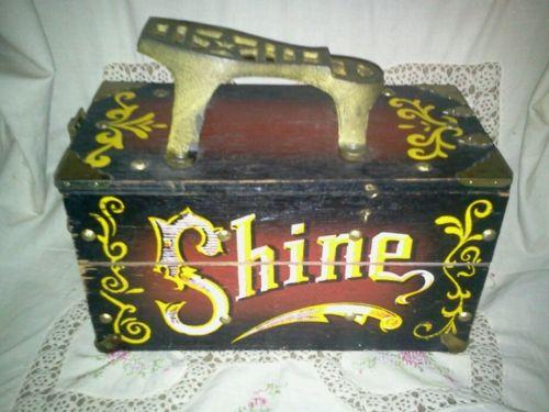 vintage painted shoe shine box
