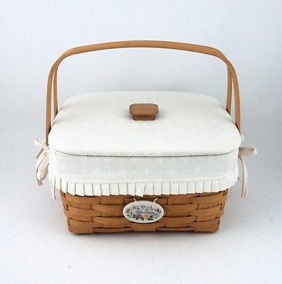 Longaberger 1995 Cake Basket Combo w Fabric Lid Tie On Natural White