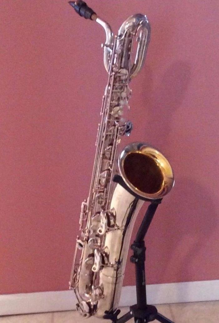 Baritone Saxophone Selmer 1977 Silver MarkVI - Black Carry Case - New Sax Stand
