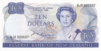 1985 – 1989 Reserve Bank of New Zealand $10 Bank Note – Gem U N C