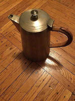 SELANGOR PEWTER TEAPOT with cane handle covering