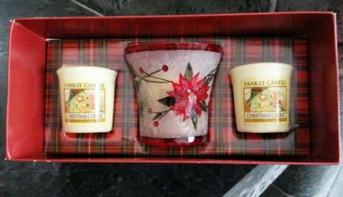 Yankee candle votive christmas cookie vintage gift set