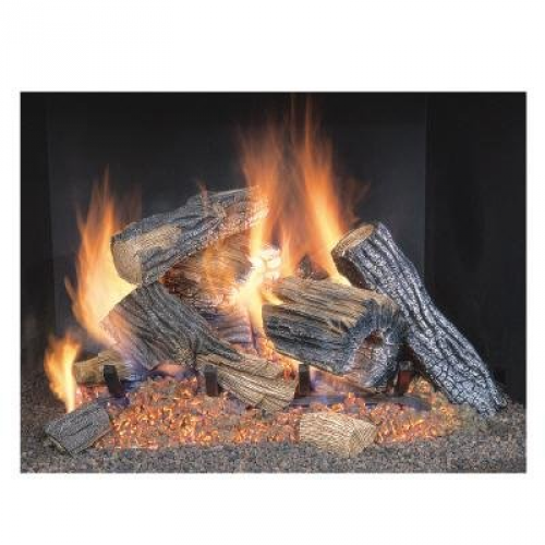 Sure Heat Vented Oak Natural Gas Fireplace Logs Fire Log Set 18