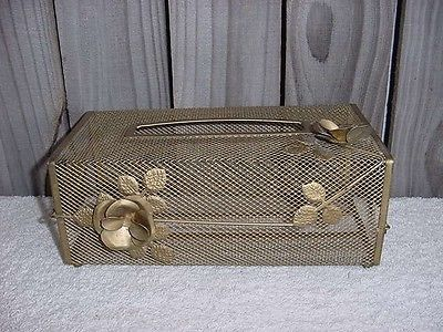 Vintage ROSE FLORAL GOLDEN TONE METAL TISSUE BOX HOLDER