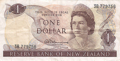 1967 New Zealand $1 Dollar Bank Note – Reserve Bank