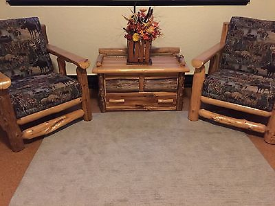 Custom Made Western Red Cedar Log Furniture, Pair of Chairs w/Cushions and Chest