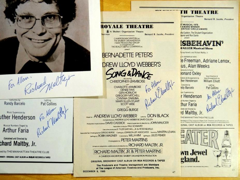 4 Richard Maltby Jr. Autographs Signed Playbill Cast Pages Producer Director lot