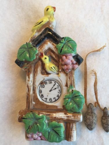 Occupied Japan Yellow Bird & Cuckoo Clock / Bird House Wall Pocket