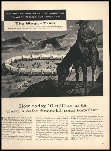 1955 Wagon Train Art Everett McNear Credit Union AD