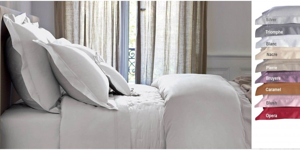 YVES DELORME SOLID TRIOMPHE SILVER PILLOW SHAM EGYPTIAN COTTON 310TC