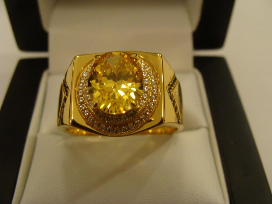 Amazing ROYAL LEAGUE MEN'S Ring 18K Yellow Gold Over Sterling Silver 925, Size14