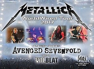 Metallica Avenged Sevenfold,Volbeat 2 Tickets 6/11/17 NRG Stadium SEC.103 ROW GG