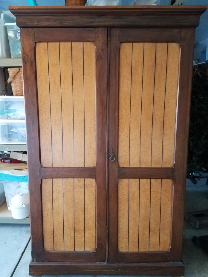Armoire  -  Circa 1865 Victorian Birds Eye Maple & Walnut Two Door Armoire.