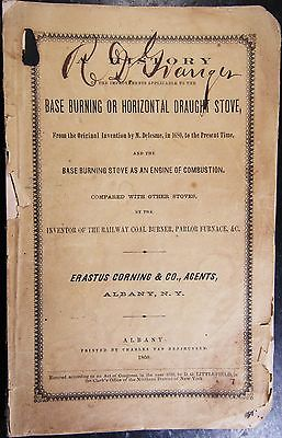 History of the Base Burning or Horizontal Draught Stove, Littlefield, 1860, Rare