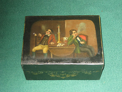 Antique painted scene on metal tobacco box