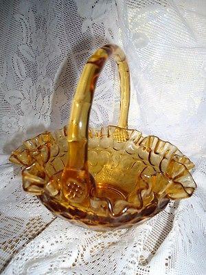 Vintage Fenton Amber Glass Basket  #