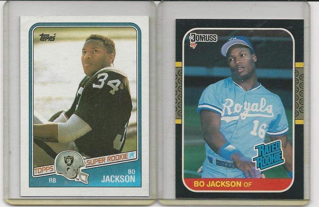 2 CARD LOT BO JACKSON 1989 TOPPS FOOTBALL &1987 DONRUSS ( NR. MINT OR BETTER)