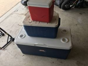 3 free coleman coolers