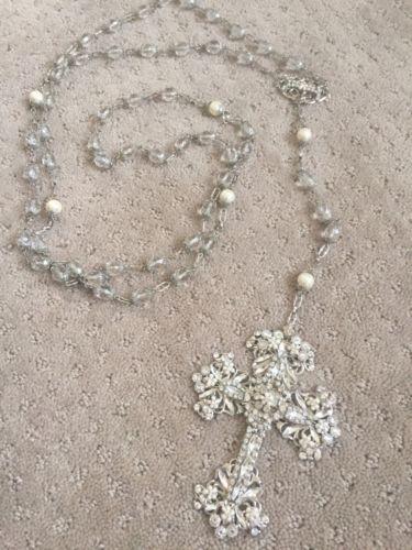 Maria Elena Bridal Pearl & Swaroski Crystal Cross Laso