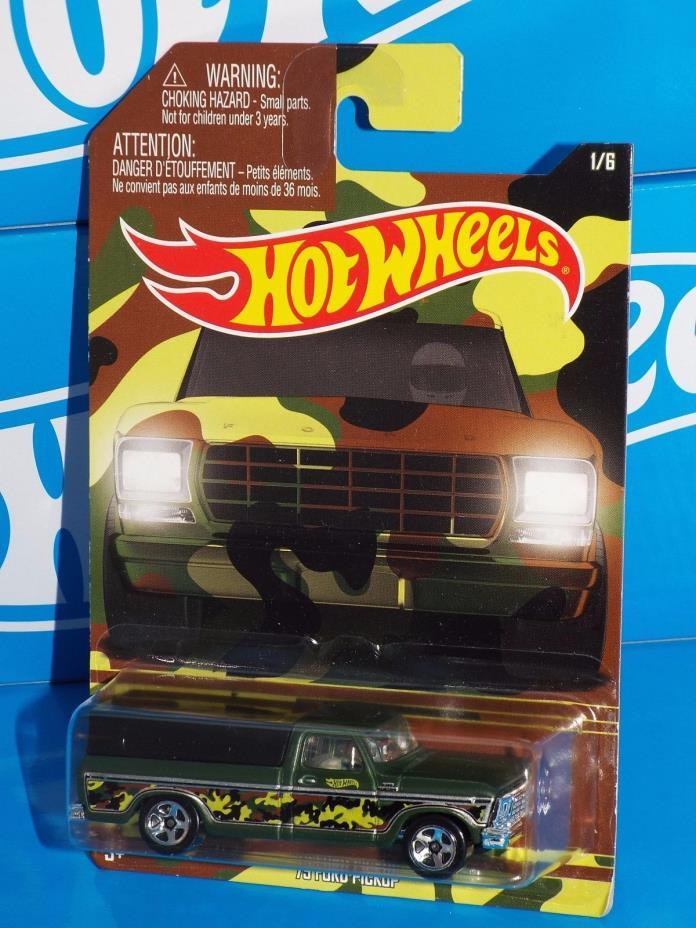Hot Wheels 2016 Wal-Mart Camo Series 1/6 '79 Ford Pickup Flat Green