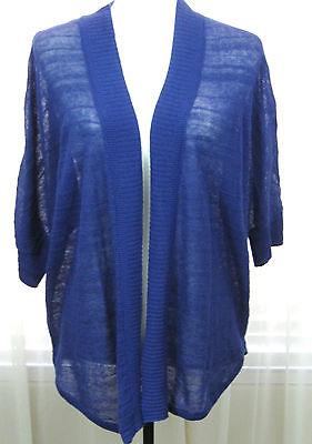 CHICO Size 3 Bluish/Purple Short Sleeve Open Sweater Non Set In Sleeve