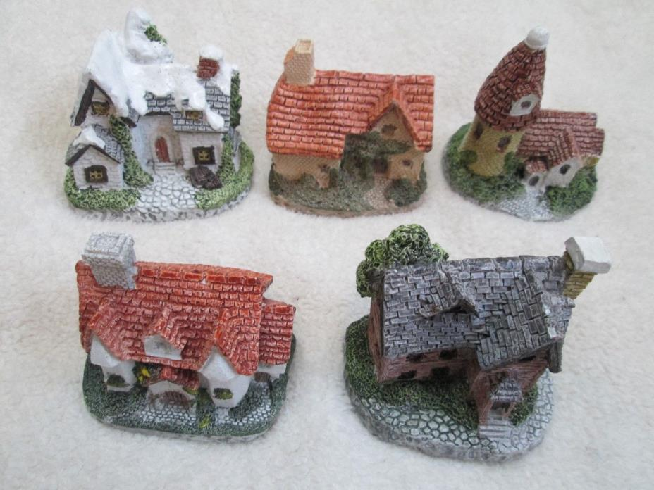 Clearance LOT OF 5 CORNWALL COTTAGE HANDPAINTED COLD CAST PORCELAIN COTTAGES