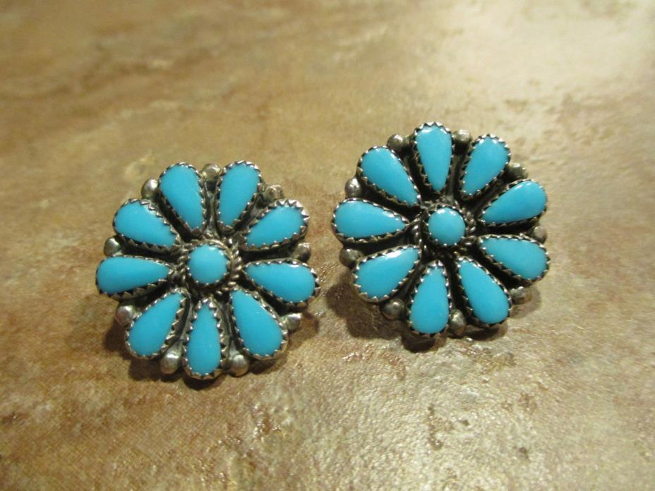 Large Vintage Navajo / Zuni Sterling Silver SLEEPING BEAUTY Turquoise Earrings