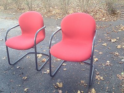 Pair Modern Knoll Chairs Red Parachute Sled Base Office Mid Century