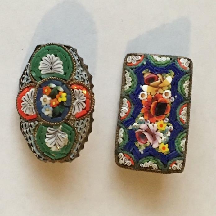 Vintage lot of 2 small micro mosaic brooch pin Italy