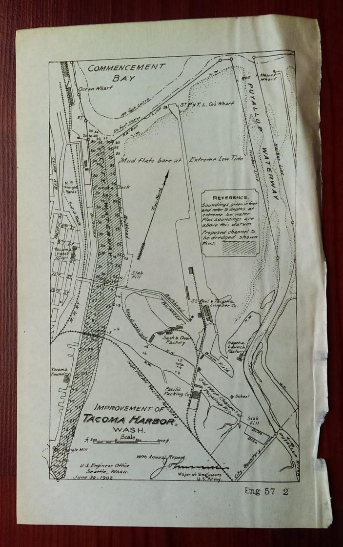 1902 Map Showing Project to Improve Tacoma Harbor WA Puyallup Waterway