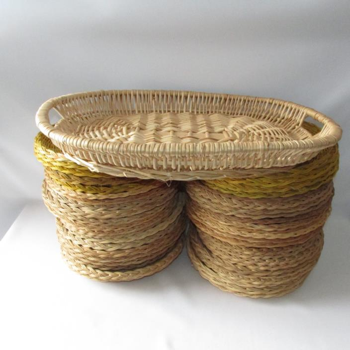 bamboo paper plate holders Fox run 9&quot paper plate holders support set of 4 woven rattan basket  picnic new roll over  back jva paper plate holders plastic reusable for  parties, picnics, camping, walking, party matt colour  bamboo paper plate  holders.