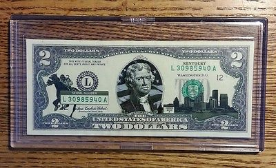 Kentucky  $2 Two Dollar Bill - Overlaid State Landmark - Uncirculated Authentic