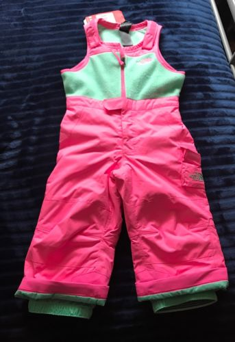 The North Face Girls toddler Insulated snow Bib Gem Pink Green SZ 2T