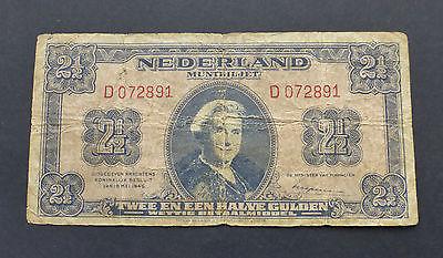 NETHERLAND - 2.5 GULDEN 1945 BANKNOTE - P #71 - VG / F - (BM61)