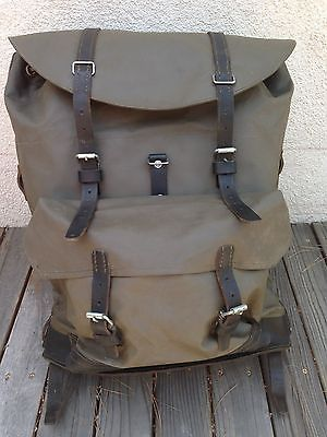 Vintage Swiss Army Rubberized Leather Survival Military Backpack rucksack
