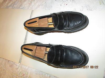 Vintage  Men's Florsheim Black Leather Penny Loafers Shoes 10 M