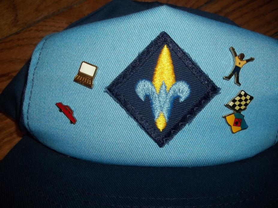 Vintage Cub Boy Scouts BSA Webelos 4 Pin Activity Badges Snapback Cap Hat Corn S