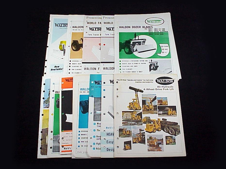 lot of 20 WALDON Brochures 4-Wheel Drive Forklift, Bulldozer/Dozer Blades, Hitch