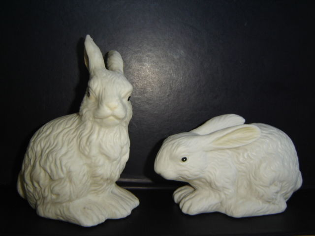 Easter Rabbit Figurines Bisque Porcelain Set of 2 approx. 4 3/4