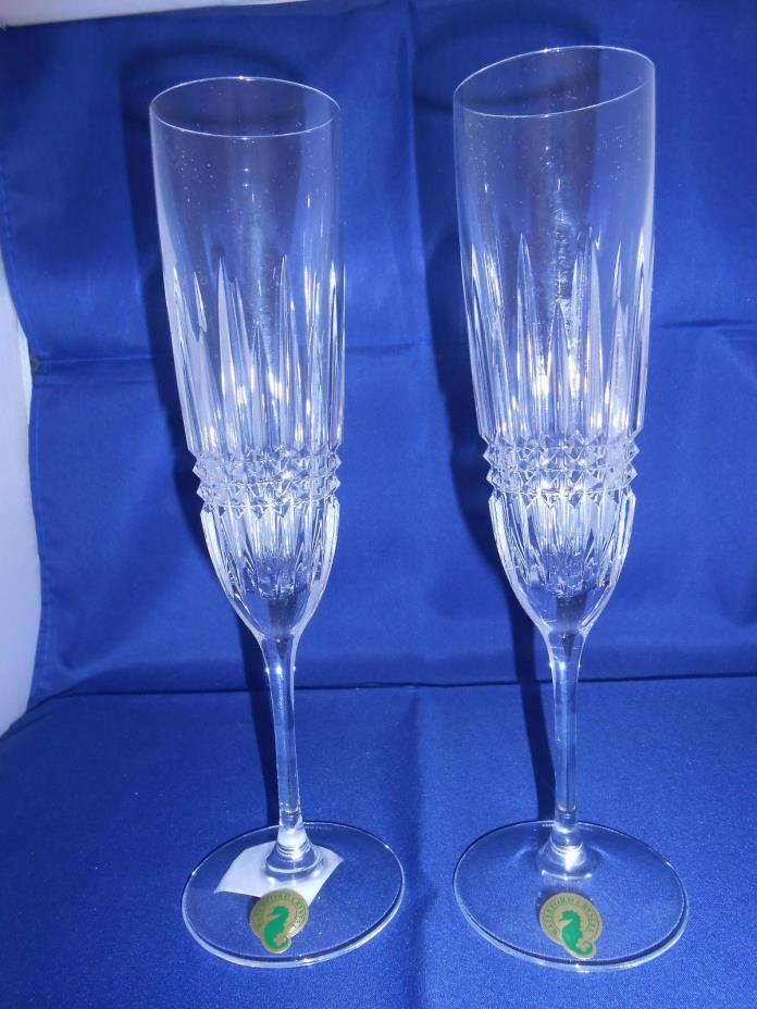 Waterford Lismore Diamond Champagne Flutes - Set of 2 - New