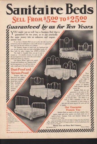 1908 SANITAIRE BEDROOM FURNITURE HOME DECOR MATTRESS AD