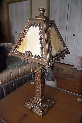 Detailed Antique Slag Glass 4 Panel Lamp Decorated- Ronson AMC-N.J.-Man's Head