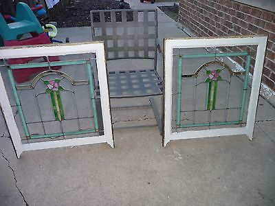 Pair Set Chicago Bungalow Style Stained Leaded Glass Windows 28