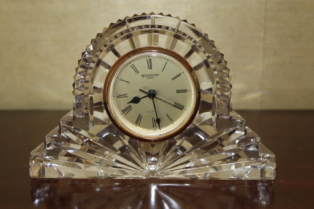Waterford Ireland Cut Crystal Glass Mantle Clock 5