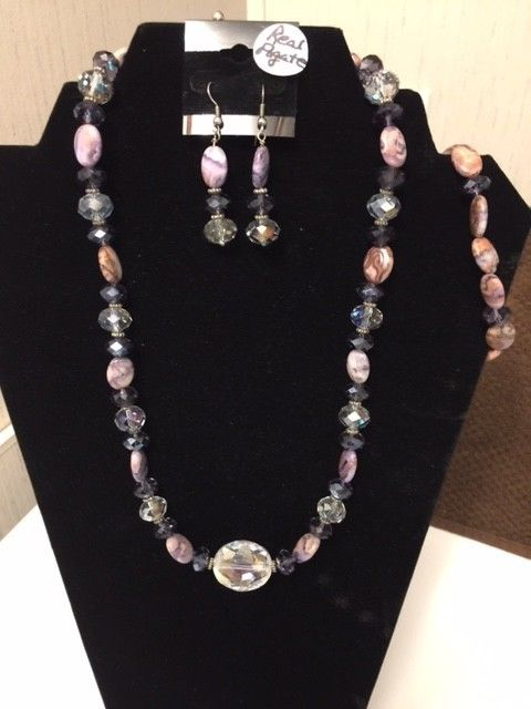 Necklace and Earring and Bracelet Set-3 piece Real Agate Beads with accent beads