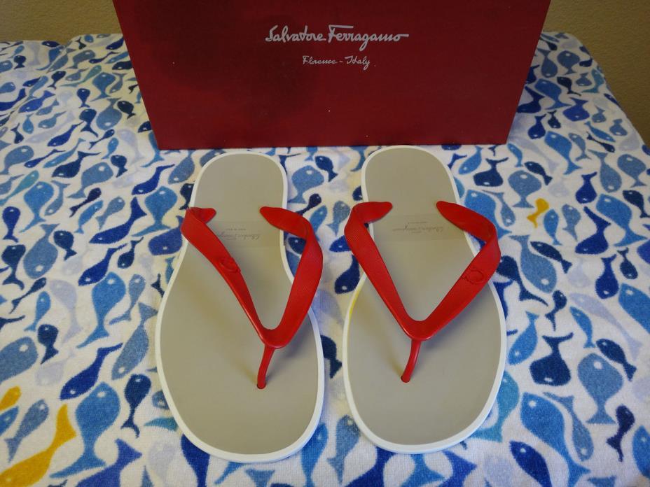 MINT Salvatore Ferragamo Red / White Gym Flip Flops Sandals Mens Size US 9 M
