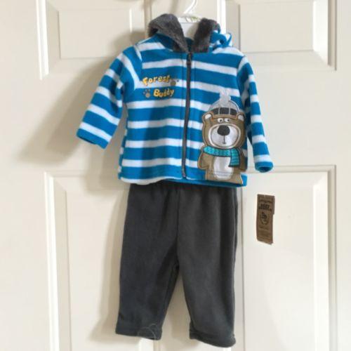 BABY REBELS BOYS INFANTS 2PC FAUX FUR SET, NWT NEWBORN-3M