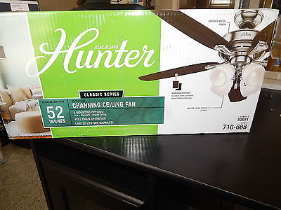 Hunter Classic Channing 52 in. Brushed Nickel Ceiling Fan with Light