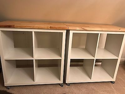 Kitchen Island Cart, Solid Wood Cubby Shelving Storage Butcher Block